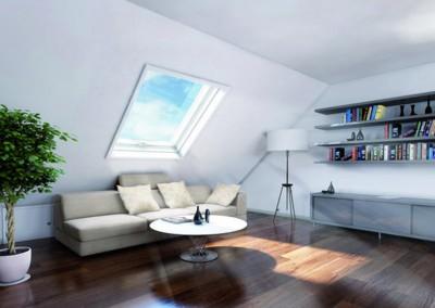 Strešno okno v dnevni sobi